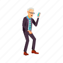 man, elderly, shocked, from, message, phone, people