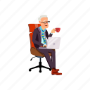 man, elderly, sitting, laughing, office, chair, coffee