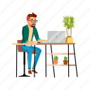 man, young, searching, job, computer, sending, cv