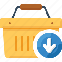 arrow, basket, down, download, shop, shopping icon