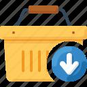 arrow, basket, down, download, shop, shopping