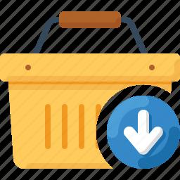 arrow, basket, down, download, shop, shopping icon