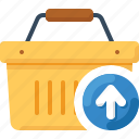 arrow, basket, load, shop, shopping, up, upload icon