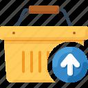 arrow, basket, load, shop, shopping, up, upload