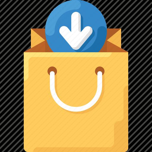 arrow, bag, download, shop, shopping, tote icon