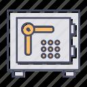 bank locker, locker, bank safe, money box icon