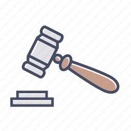 court, gavel, hammer, judge, justice, law icon
