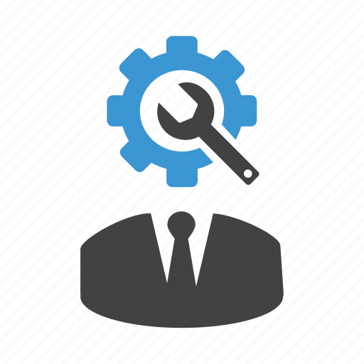 avatar, gears, man, options, settings, user, wrench icon