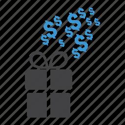 christmas, dollar, free, gift, money, present, shopping icon