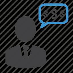 bubble, chat, dollar, man, messages, money, talk icon