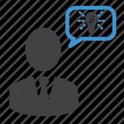 bubble, creativity, idea, man, messages, money, talk icon