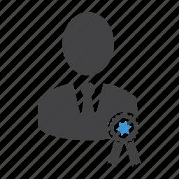achievement, award, man, medal, person, quality, reward icon