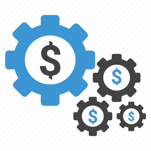 dollar, gears, money, money management, options, preferences, settings icon
