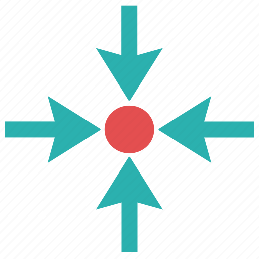 arrows, center, focus, goal, point, target, targeting icon