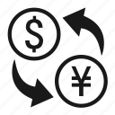currency, exchange, foreign, forex, swap, trade, ¥ icon