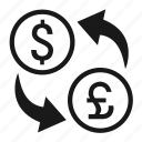 $, currency, exchange, foreign, forex, swap, trade icon
