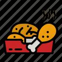 chicken, leg, fried, junk, food icon
