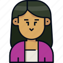 avatar, female, girl, long hair, profile, user, woman icon