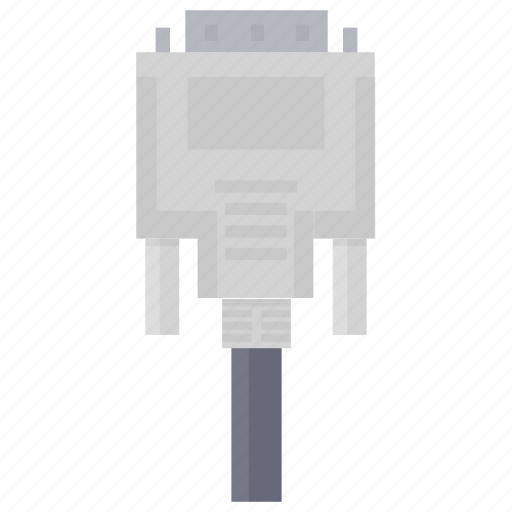coaxial cable, computer cable, dvi cable, monitor cable, video cable icon