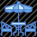 cafe, furniture, table, umbrella icon