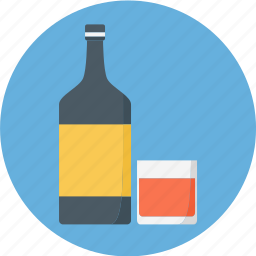 alcohol, booze, bottle, bottle and glas, glass, red wine, wine icon
