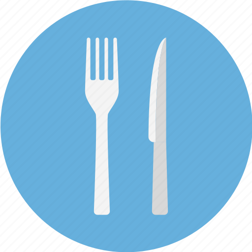 and, blue, cutlery, fork, fork and knife, fork knife, knife icon