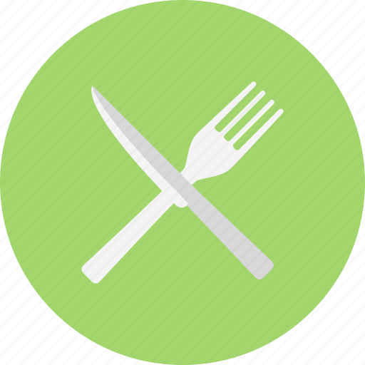 and, crossed, cutlery, fork, fork and knife crossed, knife icon