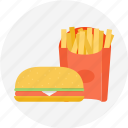and, burger, french fries, fries, fries and burger, hamburger icon