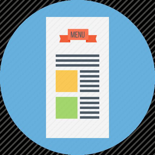 card, carte, carte du jour, cuisine, menu, menu card icon