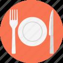 cutlery, fork, knife, plate, tableware