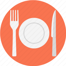cutlery, fork, knife, plate, tableware icon