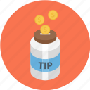 jar, tip jar, tipping, tipping jar icon