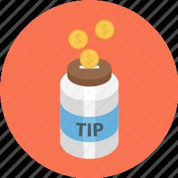jar, tip jar, tipping, tipping jar icon