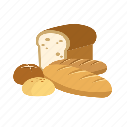baguette, baked, baking, bread, cafe icon