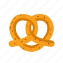 baked, bakery, bread, dessert, pretzel icon