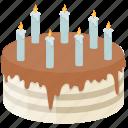 birthday cake, black forest cake, candles cake, dessert, sweet food icon
