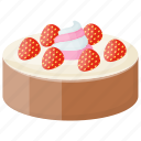 baked, dessert cake, gastronomy, strawberry cake, strawberry chocolate cake icon
