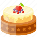 berry cake, caramel cheesecake, confectionery, party food, wedding cake icon