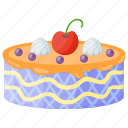 bakery food, berry cake, caramel frosting cake, spice cake, sweet food icon