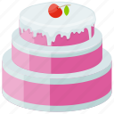 confectionery, layer cake, party cake, strawberry frosting, strawberry layer cake icon