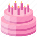 anniversary cake, bakery food, candles cake, layer cake, strawberry cake icon
