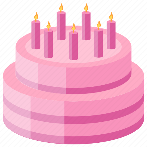 Anniversary Cake Bakery Food Candles Layer Strawberry Icon