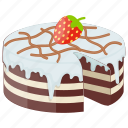 bakery food, chocolate vanilla cake, dessert, fudgy chocolate cake, icing cake icon