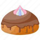 bakery food, cassata, chocolate topping, italian dessert, siciliana cassata icon