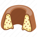 bakery food, bundt cake, chocolate cake, confectionery, ring shaped cake icon