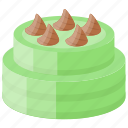 chocolate topping, confectionery, layered cake, pistachio cake, sweet food icon