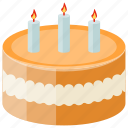 birthday cake, buttercream cake, candles cake, dessert, sweet food icon