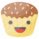 bakery food, cartoon muffin cake, chocolate muffin, dessert, muffin icon