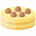 buttercream cake, caramel cheesecake, chocolate topping, sponge cake, vanilla butter cake icon