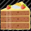 cake piece, cake slice, chocolate cake, coffee cake, refreshment icon